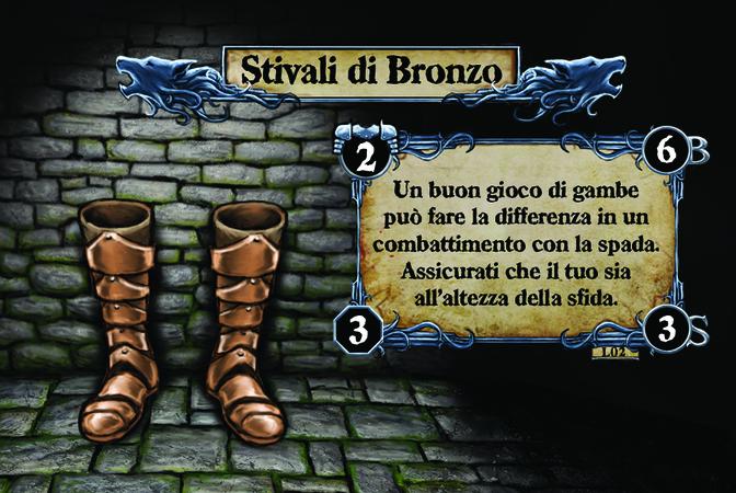 Stivali di Bronzo Un buon gioco di gambe può fare la differenza in un combattimento con la spada. Assicurati che il tuo sia all'altezza della sfida.