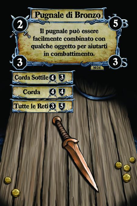 Pugnale di Bronzo Il pugnale può essere facilmente combinato con qualche oggetto per aiutarti in combattimento.  (C. 1) Corda Sottile (C. 2) Corda (C. 3) Tutte le Reti