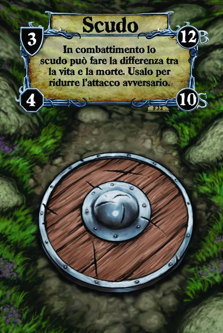 Scudo In combattimento lo scudo può fare la differenza tra la vita e la morte. Usalo per ridurre l'attacco avversario.