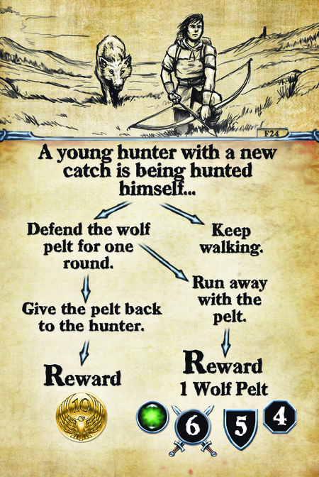 A young hunter with a new catch is being hunted himself…  Defend the Wolf Pelt for 1 round.		 Give the pelt back to the hunter.					 Reward 					  Keep walking. Run away with the pelt. Reward: 1 Wolf Pelt
