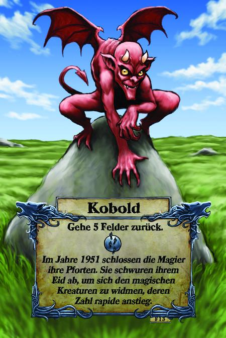 Kobold  Gehe 5 Felder zurück.  Im Jahre 1951 schlossen die Magier ihre Pforten. Sie schwuren ihrem Eid ab, um sich den magischen Kreaturen zu widmen, deren Zahl rapide anstieg.