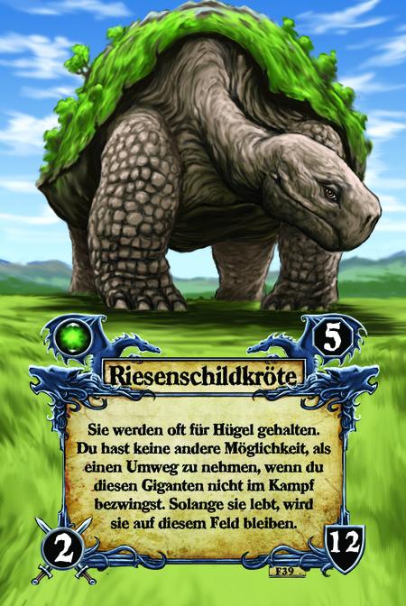 Riesenschildkröte Sie werden oft für Hügel gehalten. Du hast keine andere Möglichkeit, als einen Umweg zu nehmen, wenn du diesen Giganten nicht im Kampf bezwingst. Solange sie lebt, wird sie auf diesem Feld bleiben.