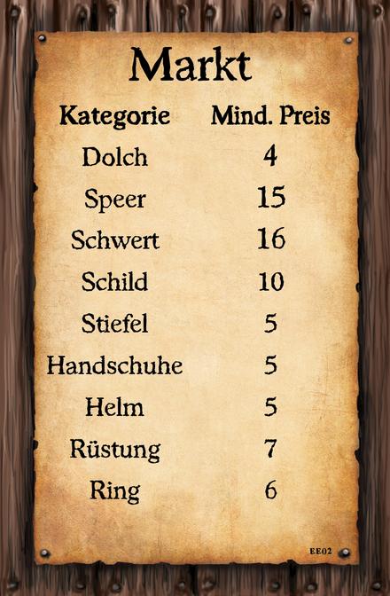 (Markt Karte 2)  Kategorie Mind. Preis  Dolch Speer Schwert Schild Stiefel Handschuhe Helm Rüstung Ring
