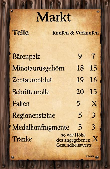 (Markt Karte 1)  Bärenpelz Minotaurusgehörn Zentaurenblut Schriftenrolle Fallen Regionensteine Medallionfragmente Tränke - so wie Höhe des angegebenen Gesundheitswerts