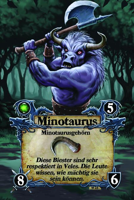 Minotaurus  Minotaurusgehörn  Diese Biester sind sehr respektiert in Veles. Die Leute wissen, wie mächtig sie sein können.