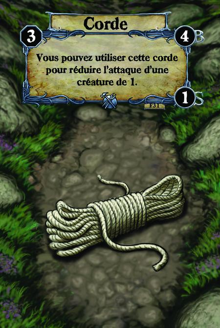 Corde Vous pouvez utiliser cette corde pour réduire l'attaque d'une créature de 1.