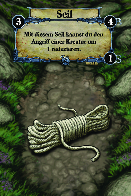Seil Mit diesem Seil kannst du den Angriff einer Kreatur um 1 reduzieren.