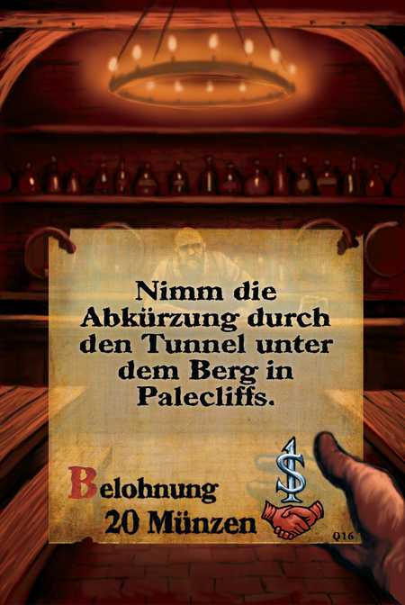 Nimm die Abkürzung durch den Tunnel unter dem Berg in Palecliffs.  Belohnung 20 Münzen