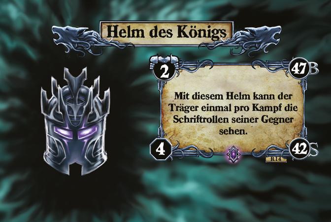 Helm des Königs Mit diesem Helm kann der Träger einmal pro Kampf die Schriftrollen seiner Gegner sehen.