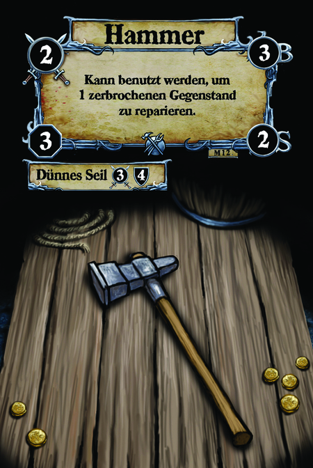 Hammer Kann benutzt werden, um 1 zerbrochenen Gegenstand zu reparieren.  (C.1) Dünnes Seil