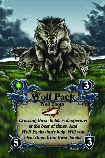Wolf Pack  Wolf Tooth  Crossing these fields is dangerous at the best of times. And Wolf Packs don't help. Will you clear them from these lands?