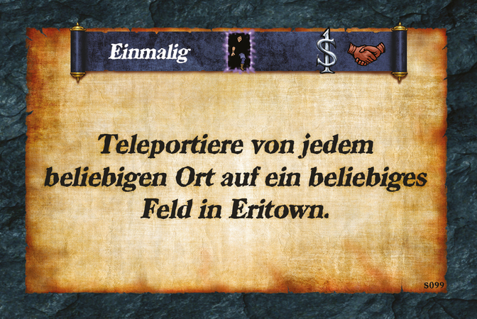 Einmalig  Teleportiere von jedem beliebigen Ort auf ein beliebiges Feld in Eritown.