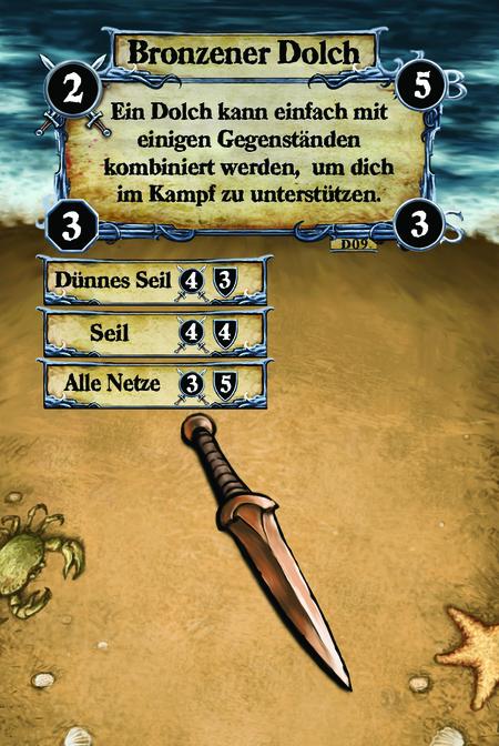Bronzener Dolch Ein Dolch kann einfach mit einigen Gegenständen kombiniert werden,  um dich im Kampf zu unterstützen.  (C.1) Dünnes Seil (C.2) Seil (C.3) Alle Netze