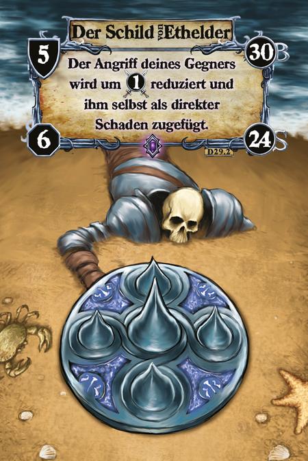 Der Schild Ethelder Der Angriff deines Gegners wird um (A.1) reduziert und ihm selbst als direkter Schaden zugefügt.