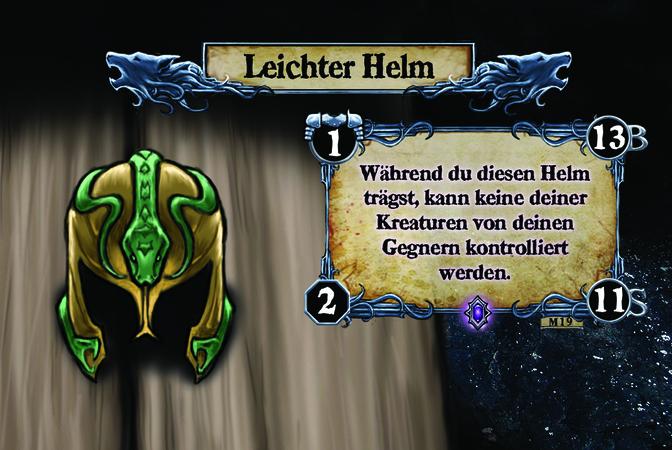 Leichter Helm Während du diesen Helm trägst, kann keine deiner Kreaturen von deinen Gegnern kontrolliert werden.