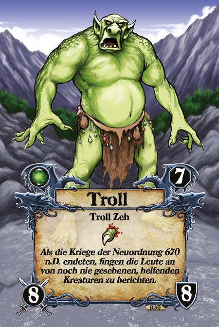 Troll  Troll Zeh  Als die Kriege der Neuordnung 670 n.D. endeten, fingen die Leute an von noch nie gesehenen, helfenden Kreaturen zu berichten.