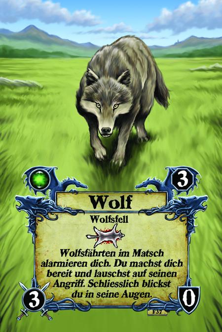 Wolfsfell Wolfsfährten im Matsch alarmieren dich. Du machst dich bereit und lauschst auf seinen Angriff. Schliesslich blickst du in seine Augen.