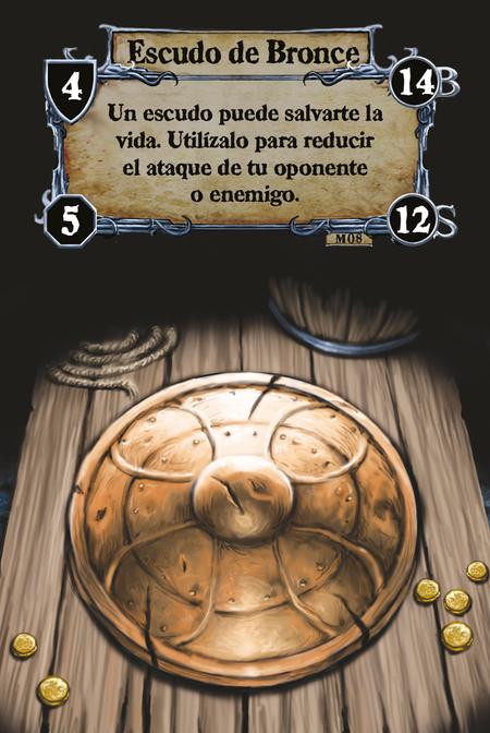 Escudo de Bronce Un escudo puede salvarte la vida. Utilízalo para reducir el ataque de tu oponente o enemigo.