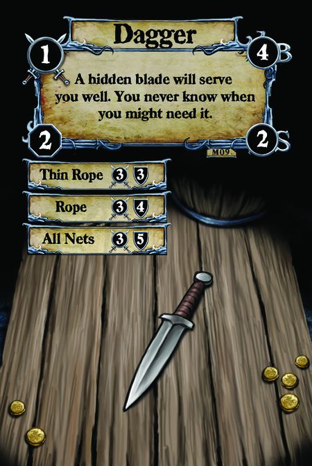 Dagger A hidden blade will serve you well. You never know when you might need it.  (C. 1) Thin Rope (C. 2) Rope (C. 3) All Nets