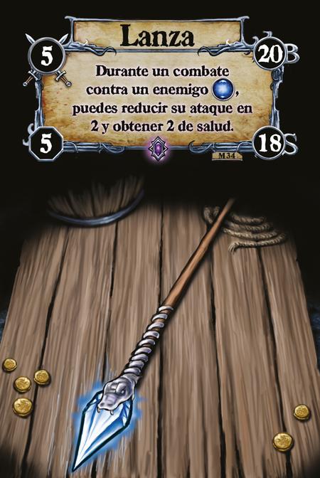 Lanza Durante un combate contra un enemigo [W], puedes reducir su ataque en 2 y obtener 2 de salud.