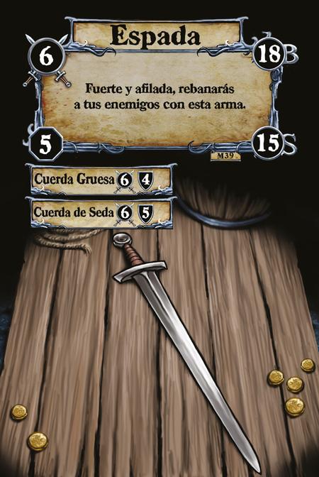 Espada Fuerte y afilada, rebanarás a tus enemigos con esta arma.  (C. 1) Cuerda Gruesa (C. 2) Cuerda de Seda