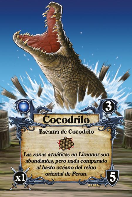Cocodrilo  Escama de Cocodrilo  Las zonas acuáticas en Lirennor son abundantes, pero nada comparado al basto océano del reino oriental de Perun.