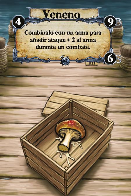 Veneno Combínalo con un arma para añadir ataque + 2 al arma durante un combate.