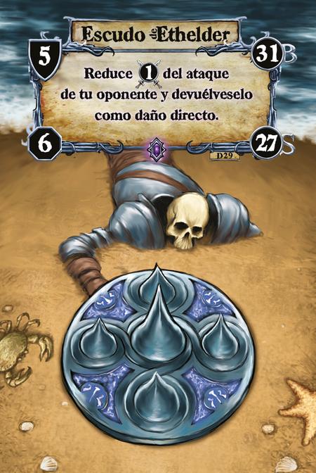 Escudo de Ethelder Reduce (A. 1) del ataque de tu oponente y devuélveselo como daño directo.