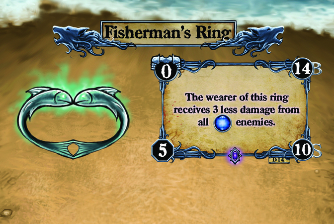 Fisherman's Ring The wearer of this ring receives 3 less damage from all [W] enemies.