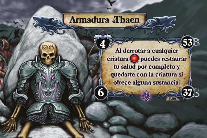 Armadura Thaen Al derrotar a cualquier criatura [F] puedes restaurar tu salud por completo y quedarte con la criatura si ofrece alguna sustancia.