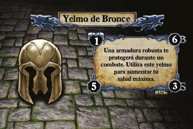 Yelmo de Bronce Una armadura robusta te protegerá durante un combate. Utiliza este yelmo para aumentar tu salud máxima.