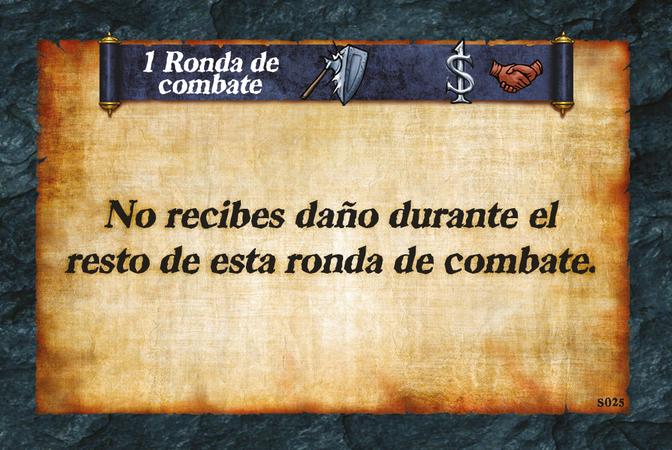 1 Ronda de combate  No recibes daño durante el resto de esta ronda de combate.