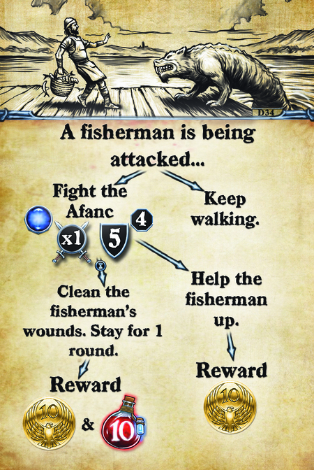 A fisherman is being attacked…  Fight the Afanc. Clean the fisherman's wounds.  Stay for 1 round.  Reward  Keep walking. Help the fisherman up. Reward