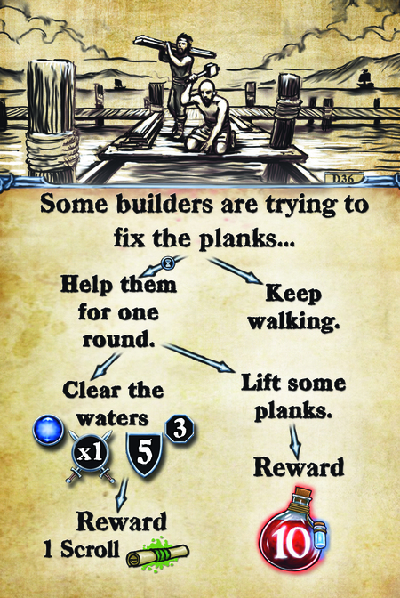 Some builders are trying to fix the planks…  Help them for one round.			 Clear the waters.				 Reward: 1 scroll				  Keep walking. Lift some planks. Reward