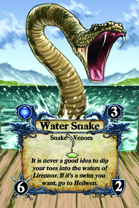 Water Snake  Snake Venom  It is never a good idea to dip your toes into the waters of Lirennor. If it's a swim you want, go to Heilwen.