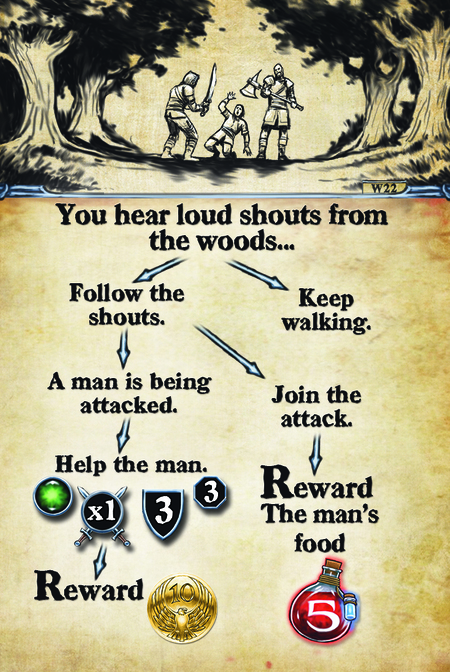 You hear loud shouts from the woods…  Follow the shouts.			 A man is being attacked.		 Help the man. Reward 								  Keep walking. Join the attack. Reward: The man's food