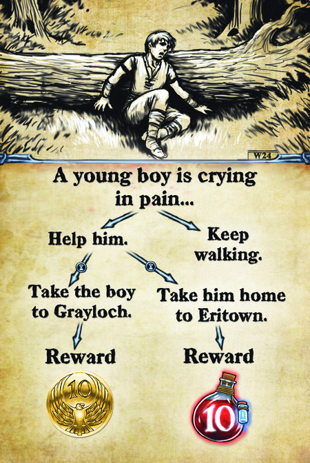 A young boy is crying in pain…  Help him.				 Take the boy to Grayloch.		 Reward				  Keep walking. Take him home to Eritown. Reward