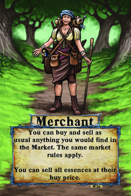 Merchant  You can buy and sell as usual anything you would find in the Market. The same Market rules apply.   You can sell all essences at their buy price.