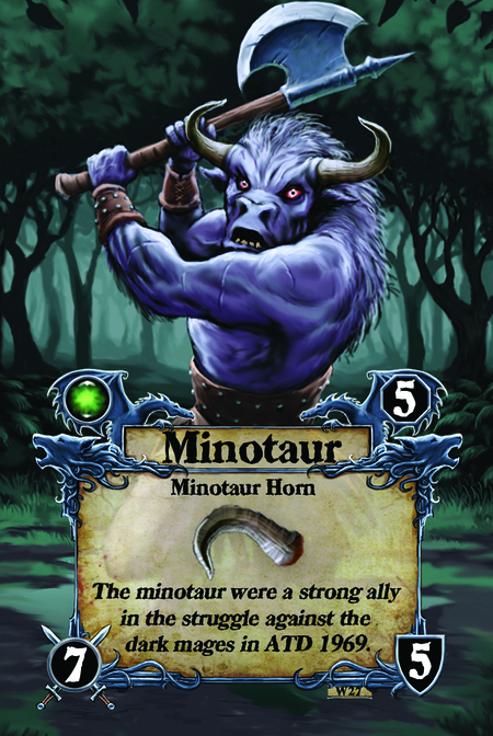 Minotaur  Minotaur Horn  The minotaur were a strong ally in the struggle against the dark mages in ATD 1969.