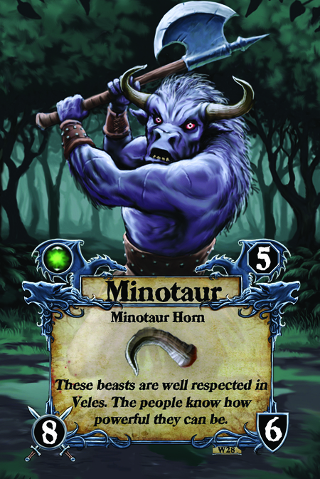 Minotaur  Minotaur Horn  These beasts are well respected in Veles. The people know how powerful they can be.