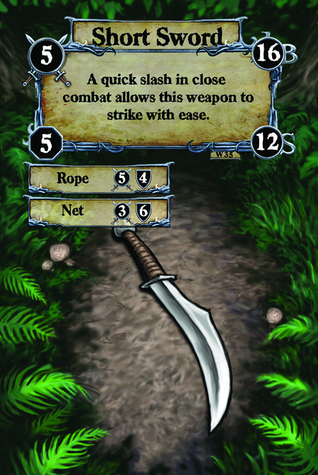 Short Sword A quick slash in close combat allows this weapon to strike with ease.  (C. 1) Rope (C. 2) Net