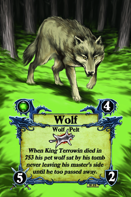 Wolf  Wolf Pelt  When King Terrowin died in 753 his pet wolf sat by his tomb never leaving his master's side until he too passed away.