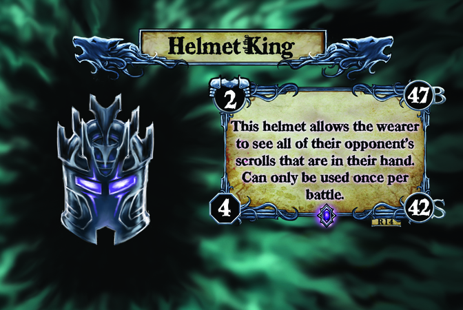Helmet King This helmet allows the wearer to see all of their opponent's scrolls that are in their hand. Can only be used once per battle.