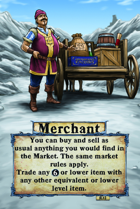 Merchant  You can buy and sell as usual anything you would find in the Market. The same Market rules apply.   Trade any (L. 6) or lower item with any other equivalent or lower level item.