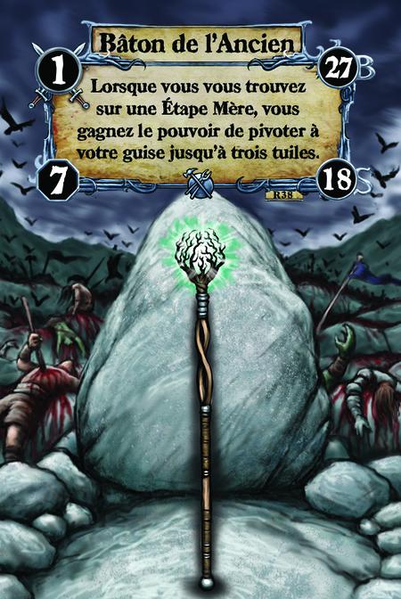Bâton de l'Ancien Lorsque vous vous trouvez sur une Étape Mère, vous gagnez le pouvoir de pivoter à votre guise jusqu'à trois tuiles.