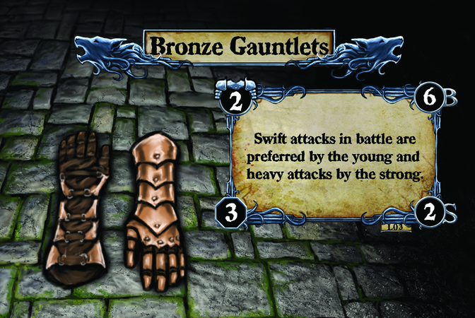 Bronze Gauntlets Swift attacks in battle are preferred by the young and heavy attacks by the strong.