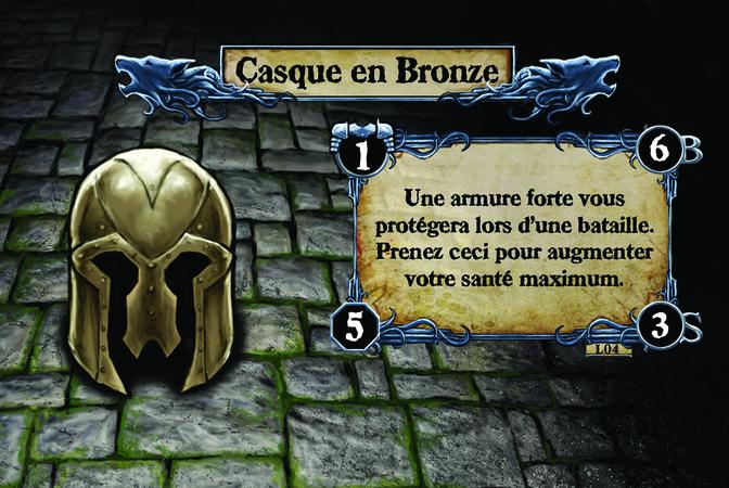 Casque en Bronze Une armure forte vous protégera lors d'une bataille. Prenez ceci pour augmenter votre santé maximum.
