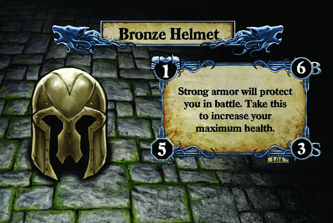 Bronze Helmet Strong armor will protect you in battle. Take this to increase your maximum health.
