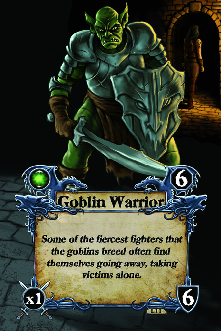 Goblin Warrior Some of the fiercest fighters that the goblins breed often find themselves going away, taking victims alone.