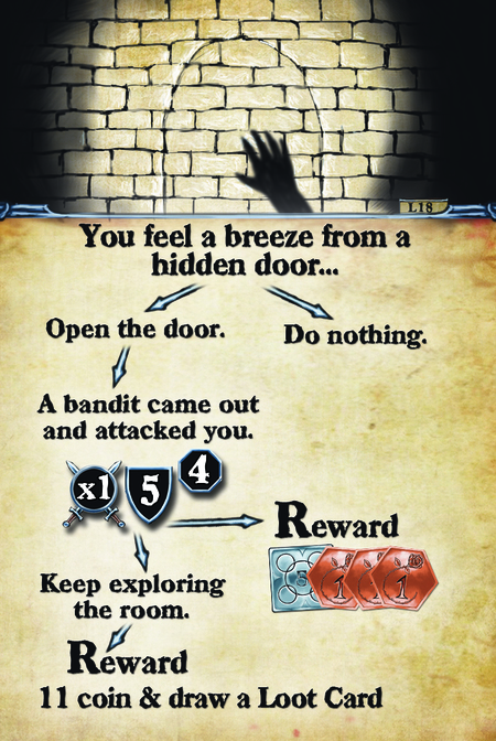 You feel a breeze from a hidden door…  Open the door.                                              A bandit came out and attacked you. Keep exploring the room.                                Reward: Draw a loot card and 11 coin  Do nothing. Reward